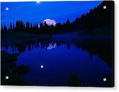 Tipoe Lake And Mount Rainer Acrylic Print by Jeff Swan