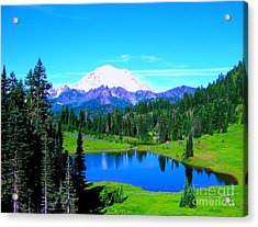 Acrylic Print featuring the photograph Tipsoo Lake Mount Rainier by Ann Johndro-Collins