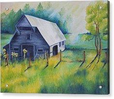 Tipton Barn Cades Cove Tn Acrylic Print by Golanv  Waya