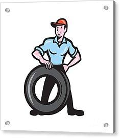 Tireman Mechanic With Tire Cartoon Isolated Acrylic Print by Aloysius Patrimonio