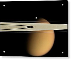 Titan And Saturn's Rings Acrylic Print by Nasa/jpl/space Science Institute