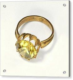 Titanite Stone Set In Antique Gold Ring Acrylic Print
