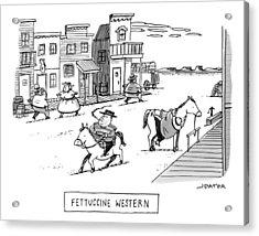 Title: Fettucini Western. Fat Cowboys Ride Horses Acrylic Print