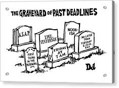 Title: Graveyard Of Past Deadlines.  A Graveyard Acrylic Print