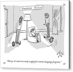 Title: Hoverboard Parents. Parents Riding Acrylic Print