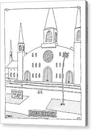 Title: Spec Church. A Billboard Outside A Church Acrylic Print