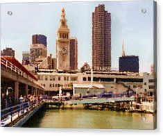 To San Francisco From Sausalito Passing Alcatraz By Ferry_painting Acrylic Print