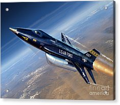 To The Edge Of Space - The X-15 Acrylic Print by Stu Shepherd