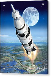 To The Moon Apollo 11 Acrylic Print by Stu Shepherd