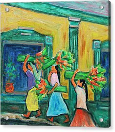 To The Morning Market Acrylic Print by Xueling Zou