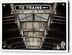 To Trains Acrylic Print by John Rizzuto