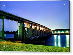 Acrylic Print featuring the photograph Toad Suck Dam At Night by Jason Politte