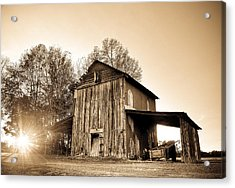 Tobacco Barn In Sunset Acrylic Print