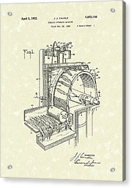 Tobacco Machine 1932 Patent Art Acrylic Print by Prior Art Design