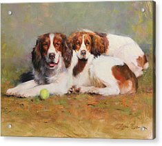 Toby And Ellie Mae Acrylic Print by Anna Rose Bain