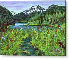Todd Lake Mt. Bachelor Acrylic Print by Jennifer Lake