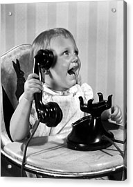 Toddler With Telephone Acrylic Print by Underwood Archives