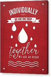 Together We Are An Ocean - Red Acrylic Print