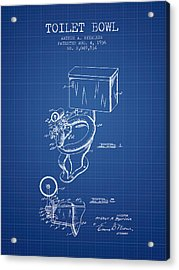 Toilet Bowl Patent From 1936 - Blueprint Acrylic Print by Aged Pixel
