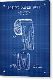 Toilet Paper Roll Patent Drawing From 1891 - Blueprint Acrylic Print