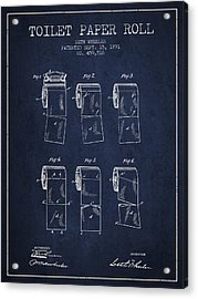 Toilet Paper Roll Patent From 1891 - Navy Blue Acrylic Print