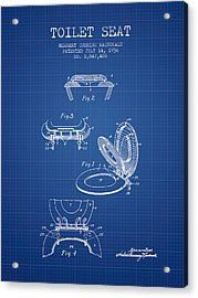 Toilet Seat Patent From 1936 - Blueprint Acrylic Print by Aged Pixel