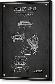 Toilet Seat Patent From 1936 - Charcoal Acrylic Print by Aged Pixel