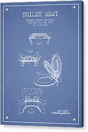 Toilet Seat Patent From 1936 - Light Blue Acrylic Print by Aged Pixel