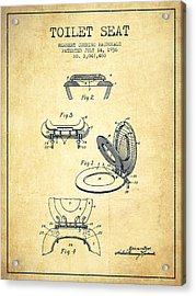 Toilet Seat Patent From 1936 - Vintage Acrylic Print by Aged Pixel