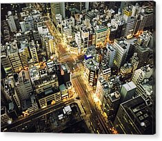 Tokyo Aerial View Street Acrylic Print by Franckreporter