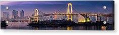 Tokyo Rainbow Bridge Soaring Over Acrylic Print by Fotovoyager