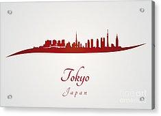 Tokyo Skyline In Red Acrylic Print by Pablo Romero