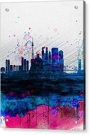 Tokyo Watercolor Skyline 2 Acrylic Print by Naxart Studio