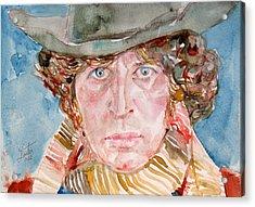 Tom Baker Doctor Who Watercolor Portrait Acrylic Print by Fabrizio Cassetta