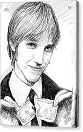 Tom Petty Art Drawing Sketch Portrait Acrylic Print by Kim Wang