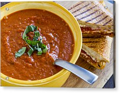 Tomato And Basil Soup With Grilled Cheese Panini Acrylic Print