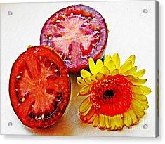 Tomato And Daisy 2 Acrylic Print by Sarah Loft