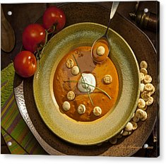 Tomato Bisque Soup Acrylic Print by Ron Schwager