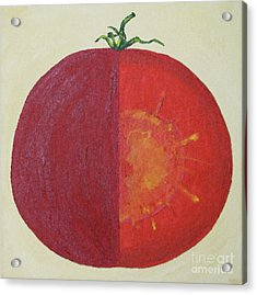 Tomato In Two Reds Acrylic On Canvas Board By Dana Carroll Acrylic Print by Dana Carroll