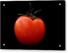 Tomato On Black Acrylic Print by Jeremy Voisey