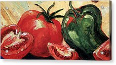 Tomatoes And Green Pepper Acrylic Print by Paris Wyatt Llanso