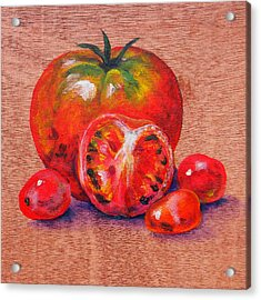 Tomatoes Acrylic Print by Judy Bruning