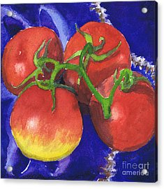 Tomatoes On Blue Tile Acrylic Print by Susan Herbst