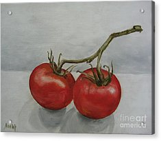 Tomatoes On Vine Acrylic Print by Jindra Noewi