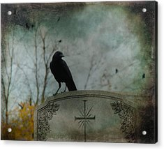 Tombstone Crow Acrylic Print by Gothicrow Images