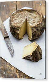 Tomme De Savoie Cheese And Knife On Acrylic Print by Westend61