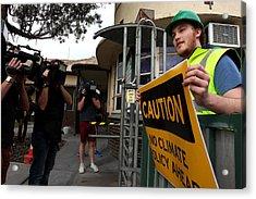 Tony Abbott Visits Adelaide As Marginal Seats Threatened Acrylic Print by Lisa Maree Williams