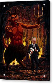 Tony Blair In Hell With Devil And Holding Weapons Of Mass Destruction Document Acrylic Print