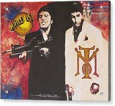 Tony Montana And Friend Acrylic Print by Eric Dee