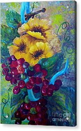 Too Delicate For Words - Yellow Flowers And Red Grapes Acrylic Print by Eloise Schneider